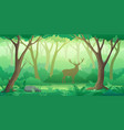 forest landscape background with trees and deer vector image