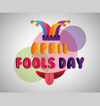 funny mouth tongue out and jester hat fools day vector image vector image