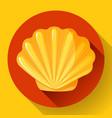 gold sea shell flat logo seafood flat icon vector image