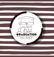 graduating lettering card with hat and diploma vector image vector image