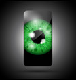 green realistic eyeball on a cell mobile phone vector image vector image