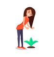 happy woman tenderly look at growing plant vector image