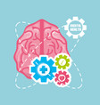 healthy brain with gears process work vector image vector image