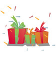 holiday present colored gift boxes vector image