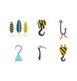 hook icon set flat style vector image vector image