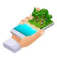 isometric concept of outdoor recreation shore of vector image vector image
