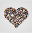 large group of people in the heart sign shap vector image vector image