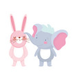 little elephant and rabbit cartoon character vector image vector image