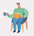 man sitting at chair and reading book vector image vector image