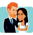 meghan markle and prince harry editorial use vector image vector image