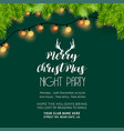 merry christmas night party green background vector image