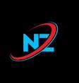 nz n z letter logo design initial letter nz vector image vector image
