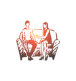 person psychologist therapy couch vector image vector image