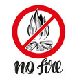 prohibiting sign no fire emblem calligraphic vector image vector image