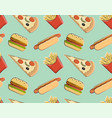 seamless pattern fast food vector image