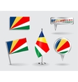 Set of Seychelles pin icon and map pointer flags vector image