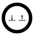 sign upload and download black icon in circle vector image