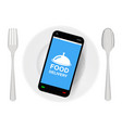 smartphone with food delivery on dish with folk vector image