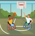 sportsmen on wheelchairs playing with ball sports vector image vector image