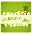St Patricks Day Card with Shamrock and Leprechaun vector image vector image