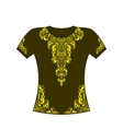 T-shirt with yellow ornament vector image vector image