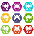 tooth with root icons set 9 vector image vector image