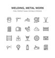 welding services flat line icons rolled metal vector image