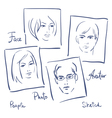 Women and men portrets sketchSet of photo frames vector image vector image