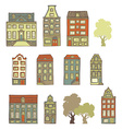 set of hand-drawn buildings vector image