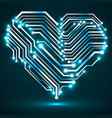 abstract neon circuit board in shape heart vector image vector image