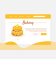 bakery recipe banner landing page template with vector image vector image