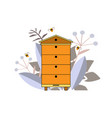 Beehive icon with bees and plants silhouette