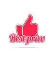best price label red color isolated on white vector image vector image
