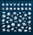 big set of white snowflakes falling in different vector image