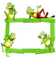 blank sign template with happy frogs on white vector image vector image