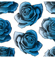 blue roses vintage seamless pattern blue rose vector image