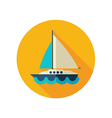 boat with a sail flat icon summer vacation