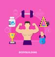bodybuilding flat composition vector image vector image