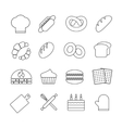 Bread and bakery outline linear icons set vector image