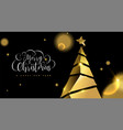 christmas and new year 3d gold pine tree card vector image vector image