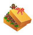 christmas gingerbread man in a box vector image vector image