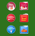 christmas holiday sticker set vector image