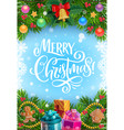 christmas tree and gifts garland with xmas bell vector image vector image