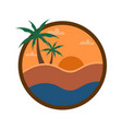 circular beach sunset view travel island vector image vector image