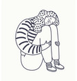 continuous line drawing sitting sad girl vector image