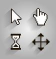 cursor set pixel arrow hand vector image