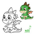 cute cartoon soft toy green baby dragon outlined vector image vector image