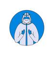 doctor wearing bio hazard suit pray for fight vector image