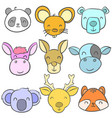 doodle of animal cute style collection vector image vector image