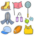 doodle sport object equipment collection vector image vector image
